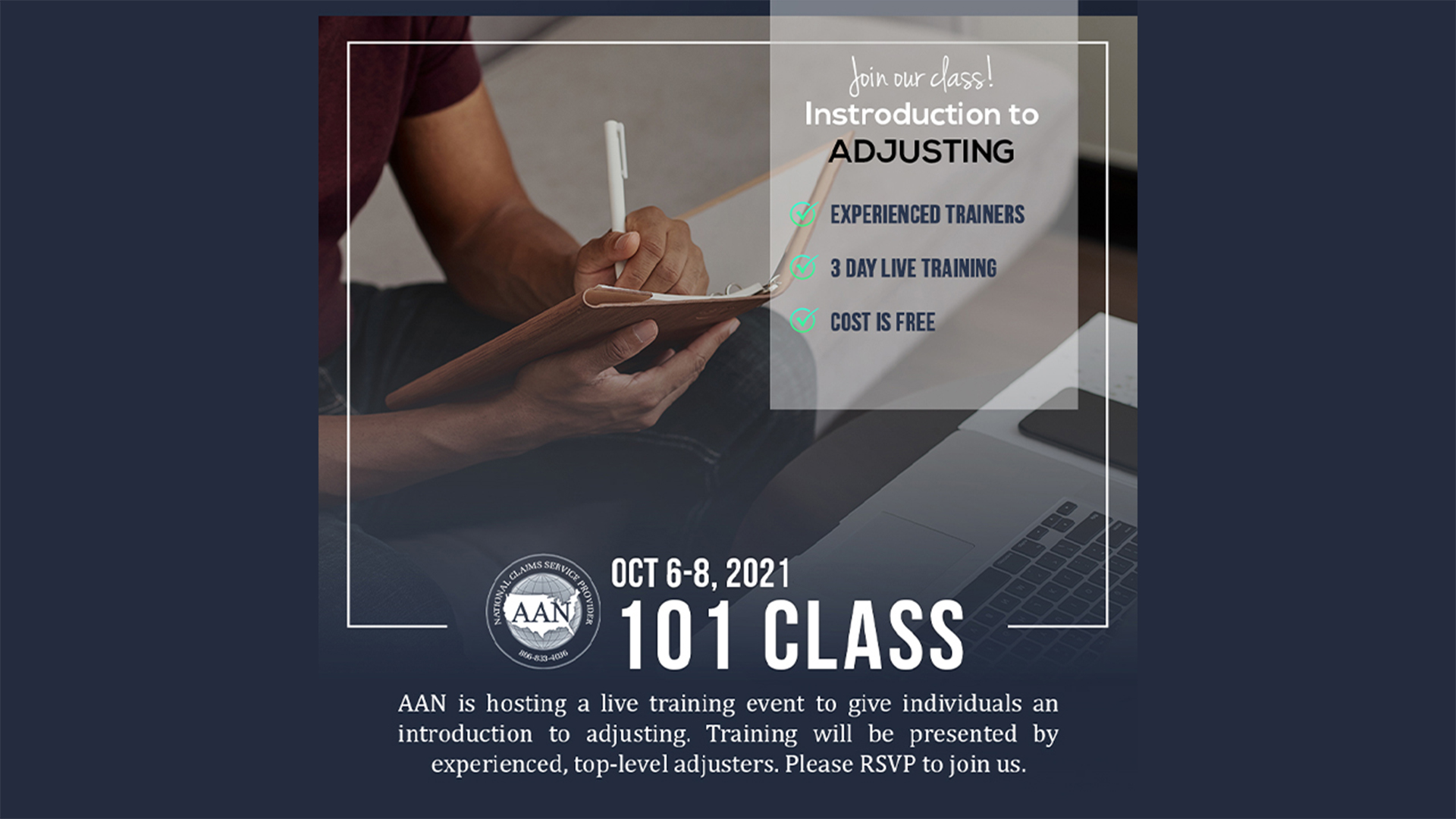 Join our live 101 Class Introduction to Adjusting